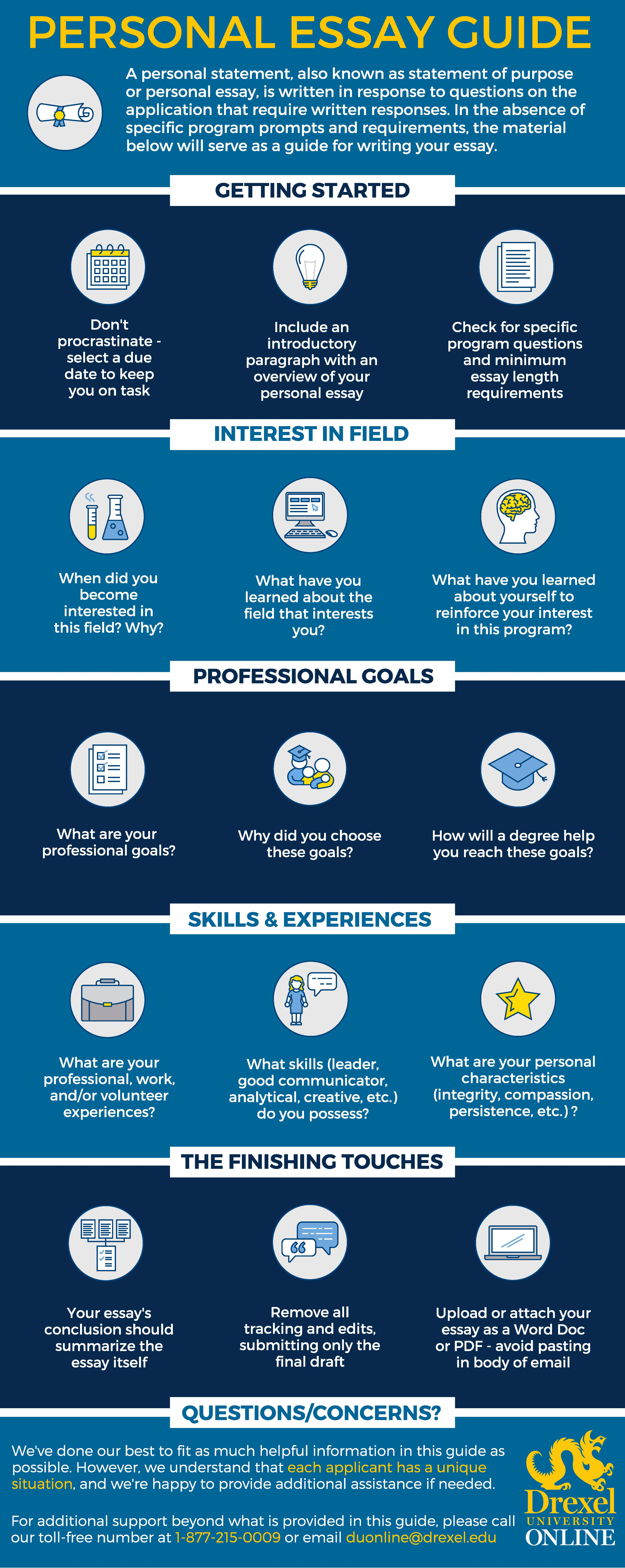 Infographic outlining tips for the perfect personal essay. Created by Drexel University Online.