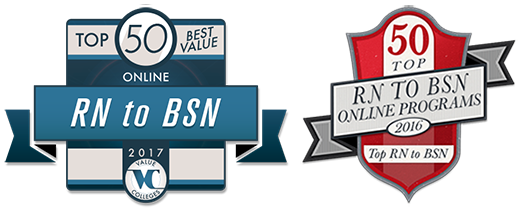 Top 50 Best Value and Top 50 RN to BSN Online Program badges