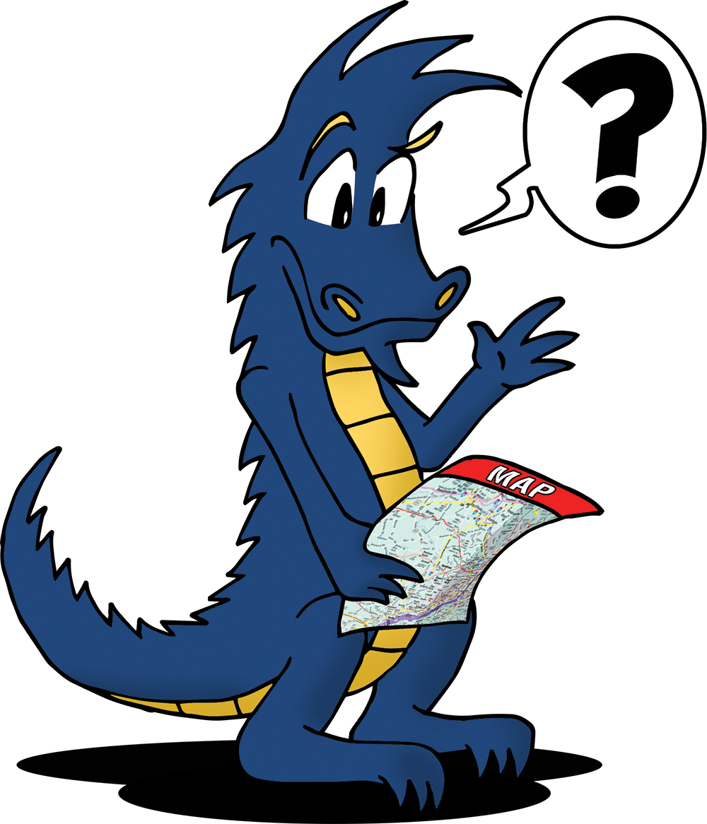 Mario the Dragon lost and reading a map