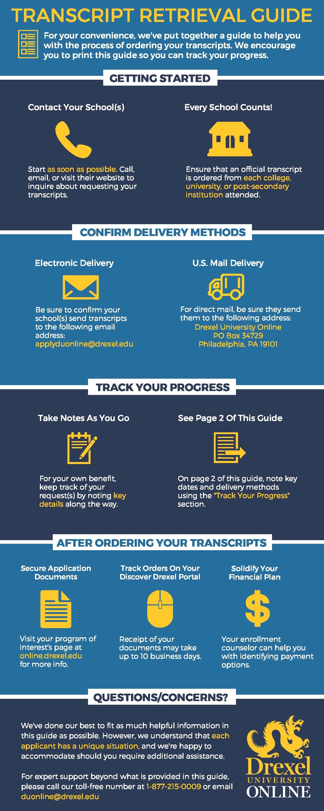 Infographic helping prospective online students requesting transcripts. Created by Drexel University Online.