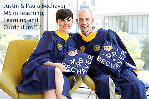 Paula and Justin Bechaver in Graduation Gowns